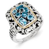 Diamond & Blue Topaz Ring Sterling Silver & 14k Gold QTC769 by Shey Couture MPN: QTC769
