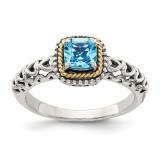 Blue Topaz Ring Sterling Silver & 14k Gold QTC801 by Shey Couture MPN: QTC801