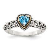 Blue Topaz Ring Sterling Silver & 14k Gold QTC803 by Shey Couture MPN: QTC803