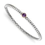 6mm Amethyst Bangle Bracelet Sterling Silver & 14k Gold QTC946 by Shey Couture MPN: QTC946