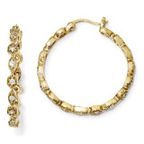 Cheryl M Hoop Earrings Sterling Silver Gold-plated Cubic Zirconia QCM271