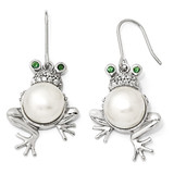 Cheryl M Simulated Emerald Cubic Zirconia Simulated PEarringsl Frog Earrings Sterling Silver QCM730