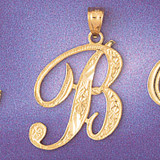 Initial B Charm Bracelet or Pendant Necklace in Yellow, White or Rose Gold DZ-9566b by Dazzlers