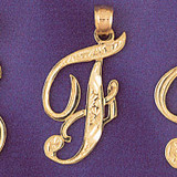 Initial F Charm Bracelet or Pendant Necklace in Yellow, White or Rose Gold DZ-9566f by Dazzlers
