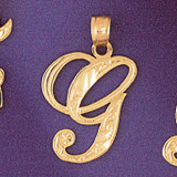 Initial G Charm Bracelet or Pendant Necklace in Yellow, White or Rose Gold DZ-9566g by Dazzlers