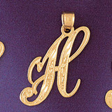 Initial H Charm Bracelet or Pendant Necklace in Yellow, White or Rose Gold DZ-9566h by Dazzlers