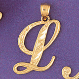 Initial L Charm Bracelet or Pendant Necklace in Yellow, White or Rose Gold DZ-9566l by Dazzlers