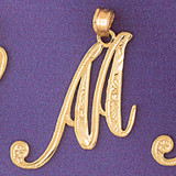 Initial M Charm Bracelet or Pendant Necklace in Yellow, White or Rose Gold DZ-9566m by Dazzlers
