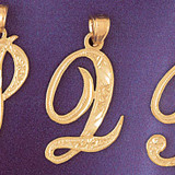 Initial Q Charm Bracelet or Pendant Necklace in Yellow, White or Rose Gold DZ-9566q by Dazzlers