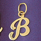 Initial B Charm Bracelet or Pendant Necklace in Yellow, White or Rose Gold DZ-9561b by Dazzlers