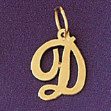 Initial D Charm Bracelet or Pendant Necklace in Yellow, White or Rose Gold DZ-9561d by Dazzlers