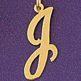 Initial J Charm Bracelet or Pendant Necklace in Yellow, White or Rose Gold DZ-9561j by Dazzlers