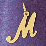 Initial M Charm Bracelet or Pendant Necklace in Yellow, White or Rose Gold DZ-9561m by Dazzlers