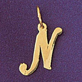 Initial N Charm Bracelet or Pendant Necklace in Yellow, White or Rose Gold DZ-9561n by Dazzlers