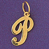 Initial P Charm Bracelet or Pendant Necklace in Yellow, White or Rose Gold DZ-9561p by Dazzlers