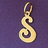 Initial S Charm Bracelet or Pendant Necklace in Yellow, White or Rose Gold DZ-9561s by Dazzlers