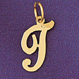 Initial T Charm Bracelet or Pendant Necklace in Yellow, White or Rose Gold DZ-9561t by Dazzlers