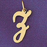 Initial Z Charm Bracelet or Pendant Necklace in Yellow, White or Rose Gold DZ-9561z by Dazzlers