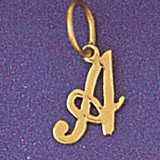 Initial A Charm Bracelet or Pendant Necklace in Yellow, White or Rose Gold DZ-9562a by Dazzlers
