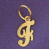 Initial F Charm Bracelet or Pendant Necklace in Yellow, White or Rose Gold DZ-9562f by Dazzlers
