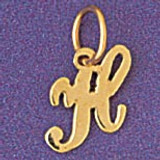 Initial H Charm Bracelet or Pendant Necklace in Yellow, White or Rose Gold DZ-9562h by Dazzlers