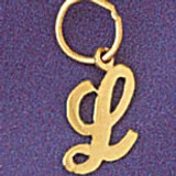 Initial L Charm Bracelet or Pendant Necklace in Yellow, White or Rose Gold DZ-9562l by Dazzlers