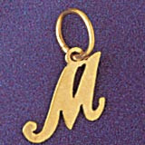 Initial M Charm Bracelet or Pendant Necklace in Yellow, White or Rose Gold DZ-9562m by Dazzlers