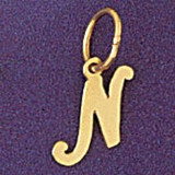 Initial N Charm Bracelet or Pendant Necklace in Yellow, White or Rose Gold DZ-9562n by Dazzlers