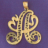 Initial A Charm Bracelet or Pendant Necklace in Yellow, White or Rose Gold DZ-9563a by Dazzlers