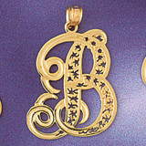 Initial B Charm Bracelet or Pendant Necklace in Yellow, White or Rose Gold DZ-9563b by Dazzlers