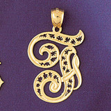Initial F Charm Bracelet or Pendant Necklace in Yellow, White or Rose Gold DZ-9563f by Dazzlers
