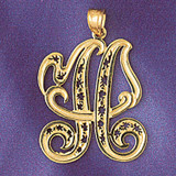 Initial H Charm Bracelet or Pendant Necklace in Yellow, White or Rose Gold DZ-9563h by Dazzlers