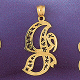 Initial J Charm Bracelet or Pendant Necklace in Yellow, White or Rose Gold DZ-9563j by Dazzlers
