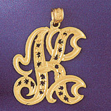Initial K Charm Bracelet or Pendant Necklace in Yellow, White or Rose Gold DZ-9563k by Dazzlers