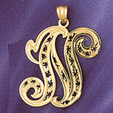 Initial N Charm Bracelet or Pendant Necklace in Yellow, White or Rose Gold DZ-9563n by Dazzlers