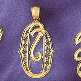 Initial O Charm Bracelet or Pendant Necklace in Yellow, White or Rose Gold DZ-9563o by Dazzlers