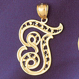 Initial T Charm Bracelet or Pendant Necklace in Yellow, White or Rose Gold DZ-9563t by Dazzlers