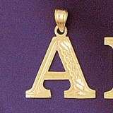 Initial A Charm Bracelet or Pendant Necklace in Yellow, White or Rose Gold DZ-9571a by Dazzlers