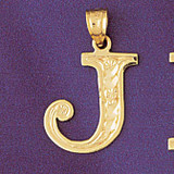Initial J Charm Bracelet or Pendant Necklace in Yellow, White or Rose Gold DZ-9571j by Dazzlers
