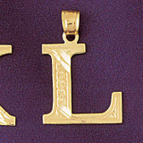 Initial L Charm Bracelet or Pendant Necklace in Yellow, White or Rose Gold DZ-9571l by Dazzlers