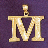 Initial M Charm Bracelet or Pendant Necklace in Yellow, White or Rose Gold DZ-9571m by Dazzlers