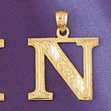 Initial N Charm Bracelet or Pendant Necklace in Yellow, White or Rose Gold DZ-9571n by Dazzlers