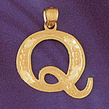 Initial Q Charm Bracelet or Pendant Necklace in Yellow, White or Rose Gold DZ-9571q by Dazzlers