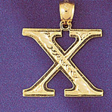 Initial X Charm Bracelet or Pendant Necklace in Yellow, White or Rose Gold DZ-9571x by Dazzlers