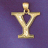 Initial Y Charm Bracelet or Pendant Necklace in Yellow, White or Rose Gold DZ-9571y by Dazzlers