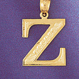 Initial Z Charm Bracelet or Pendant Necklace in Yellow, White or Rose Gold DZ-9571z by Dazzlers