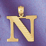 Initial N Charm Bracelet or Pendant Necklace in Yellow, White or Rose Gold DZ-9572n by Dazzlers