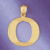 Initial O Charm Bracelet or Pendant Necklace in Yellow, White or Rose Gold DZ-9572o by Dazzlers