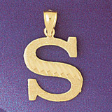 Initial S Charm Bracelet or Pendant Necklace in Yellow, White or Rose Gold DZ-9572s by Dazzlers