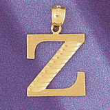 Initial Z Charm Bracelet or Pendant Necklace in Yellow, White or Rose Gold DZ-9572z by Dazzlers